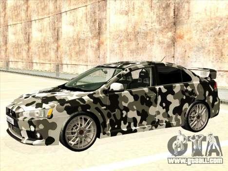 Mitsubishi Lancer Evolution X for GTA San Andreas engine