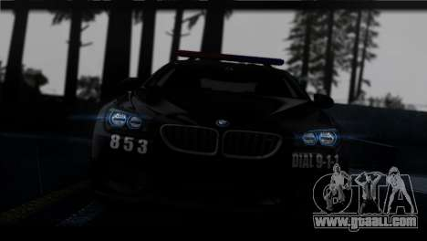 BMW M6 Coupe Redview Police for GTA San Andreas back view