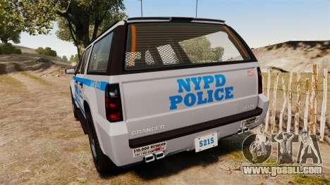 GTA V Declasse Granger NYPD for GTA 4 back left view