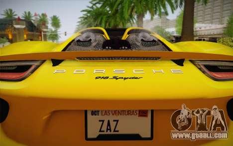 Porsche 918 2013 for GTA San Andreas back view