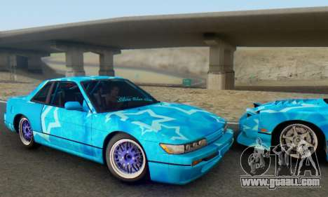 Nissan Silvia S13 Blue Star for GTA San Andreas back view