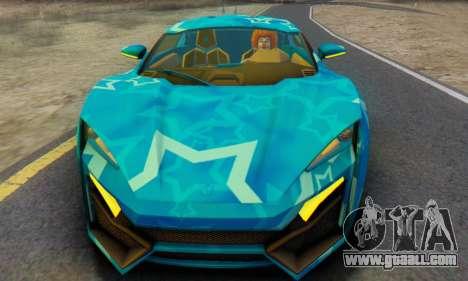 W-Motors Lykan Hypersport 2013 Blue Star for GTA San Andreas left view
