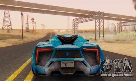W-Motors Lykan Hypersport 2013 Blue Star for GTA San Andreas back view