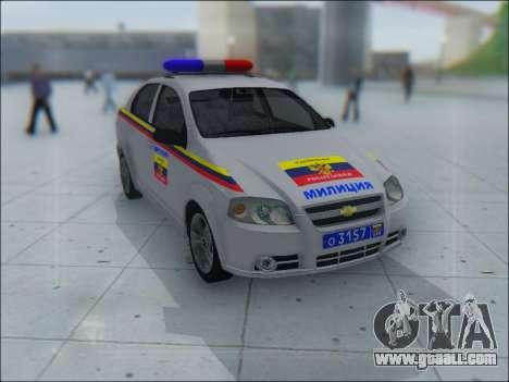 Chevrolet Aveo Милиция OНР for GTA San Andreas interior