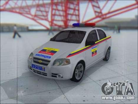 Chevrolet Aveo Милиция OНР for GTA San Andreas upper view