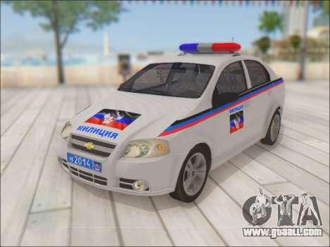 Chevrolet Aveo Police DND for GTA San Andreas