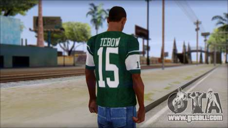 New York Jets 15 Tebow Green T-Shirt for GTA San Andreas second screenshot