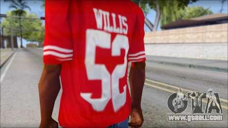 San Francisco 69ers 52 Willis Red T-Shirt for GTA San Andreas third screenshot