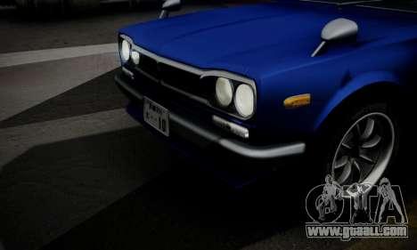Nissan Skyline GC10 2000GT for GTA San Andreas bottom view