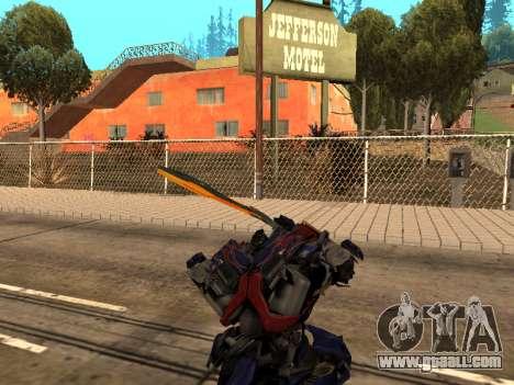 Optimus Sword for GTA San Andreas eighth screenshot