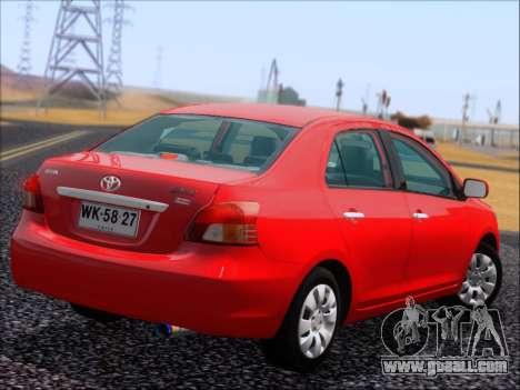 Toyota Yaris 2008 Sedan for GTA San Andreas inner view