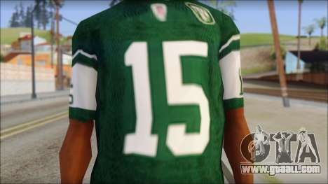 New York Jets 15 Tebow Green T-Shirt for GTA San Andreas third screenshot