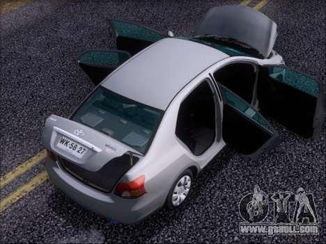 Toyota Yaris 2008 Sedan for GTA San Andreas bottom view
