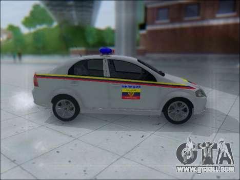 Chevrolet Aveo Милиция OНР for GTA San Andreas back left view