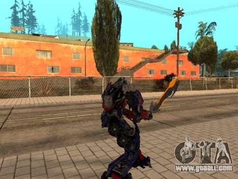 Optimus Sword for GTA San Andreas third screenshot