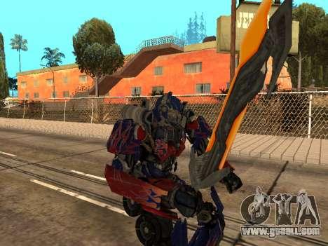Optimus Sword for GTA San Andreas ninth screenshot