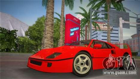 Ferrari F40 for GTA Vice City back left view