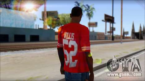 San Francisco 69ers 52 Willis Red T-Shirt for GTA San Andreas second screenshot