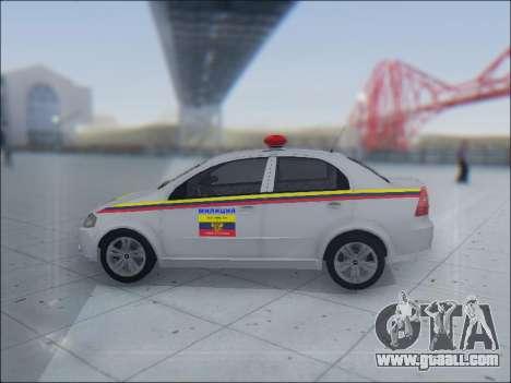 Chevrolet Aveo Милиция OНР for GTA San Andreas side view