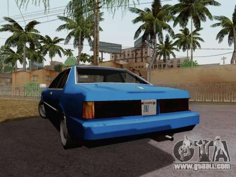 Sentinel Coupe for GTA San Andreas back left view