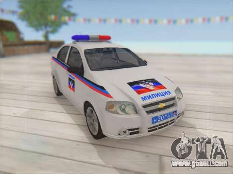 Chevrolet Aveo Police DND for GTA San Andreas inner view