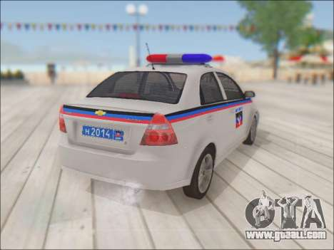 Chevrolet Aveo Police DND for GTA San Andreas back view