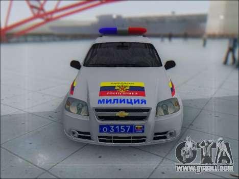 Chevrolet Aveo Милиция OНР for GTA San Andreas left view