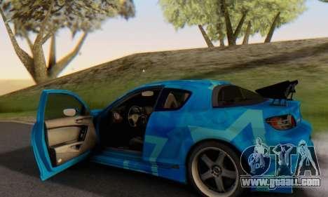 Mazda RX-8 VeilSide Blue Star for GTA San Andreas bottom view