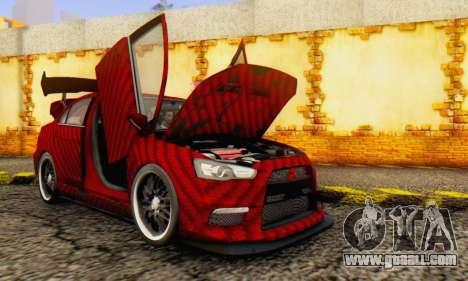 Mitsubishi Lancer EVO X Carbon Coloured for GTA San Andreas inner view