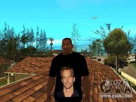 T-Shirt Paul Walker for GTA San Andreas second screenshot