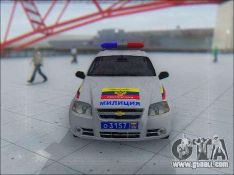 Chevrolet Aveo Милиция OНР for GTA San Andreas bottom view