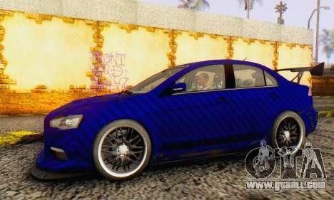 Mitsubishi Lancer EVO X Carbon Coloured for GTA San Andreas back left view