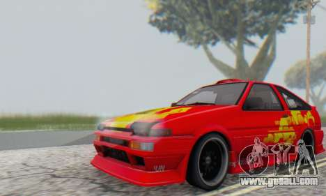 Toyota Corolla AE86 DS for GTA San Andreas back view