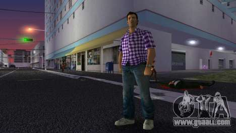 Kockas polo - lila T-Shirt for GTA Vice City forth screenshot