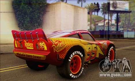 Lightning McQueen for GTA San Andreas left view