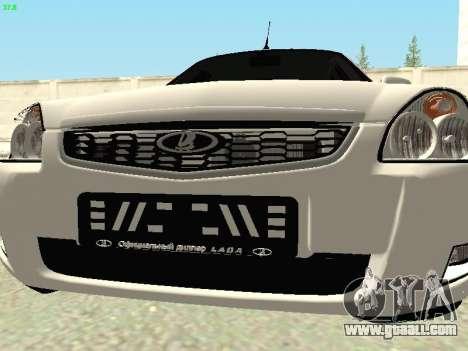 Lada 2172 Priora for GTA San Andreas inner view