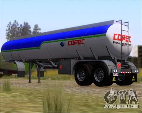 Trailer tank Carro Copec for GTA San Andreas back left view