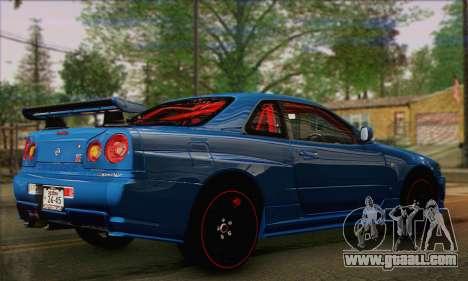 Nissan Skyline GTR34 for GTA San Andreas left view