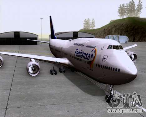 Boeing 747-830 Lufthansa - Fanhansa for GTA San Andreas back left view