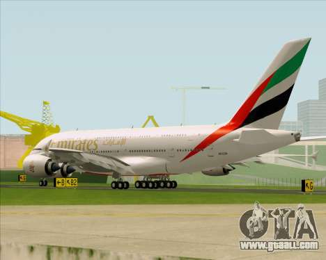 Airbus A380-841 Emirates for GTA San Andreas back left view