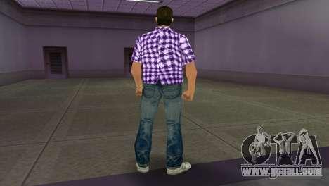 Kockas polo - lila T-Shirt for GTA Vice City third screenshot