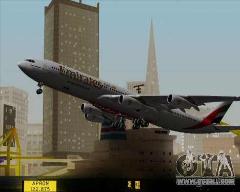 Airbus A340-313 Emirates for GTA San Andreas upper view