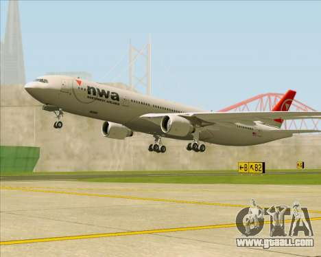 Airbus A330-300 Northwest Airlines for GTA San Andreas wheels
