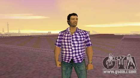 Kockas polo - lila T-Shirt for GTA Vice City