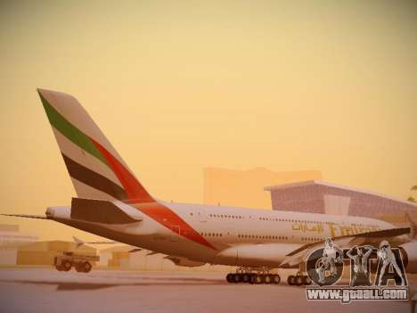 Airbus A380-800 Emirates for GTA San Andreas side view