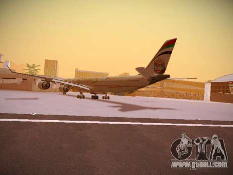 Airbus A340-600 Etihad Airways for GTA San Andreas back left view