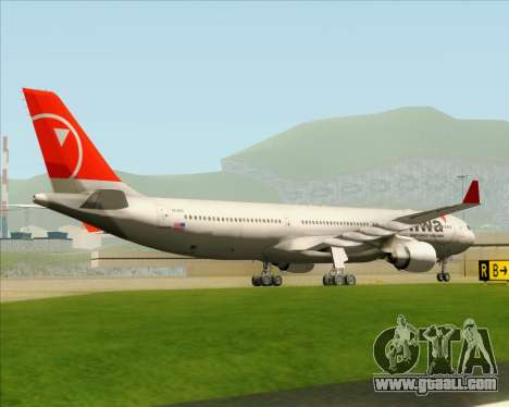 Airbus A330-300 Northwest Airlines for GTA San Andreas back view
