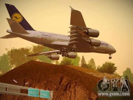 Airbus A380-800 Lufthansa for GTA San Andreas back view
