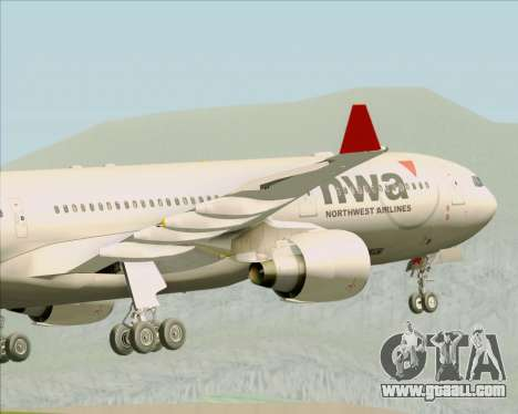 Airbus A330-300 Northwest Airlines for GTA San Andreas bottom view