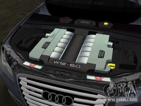 Audi A8 2010 W12 Rim6 for GTA Vice City upper view